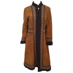 60s Summer of Love Persian Lamb Trim Suede Coat