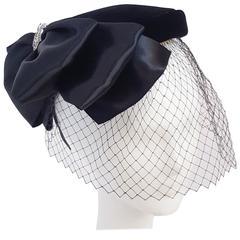 50s Black Velvet Hat w/ Veil & Satin Bow