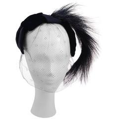 50s Velvet & Satin Hat w/ Veil & Horsehair Detail