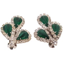 60s Weiss Rhinestone and Green Marbled Glass Earrings