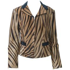 Rena Lange Tiger-Stripe Pony Jacket