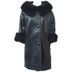 1960s Black Leather Fur-Trimmed coat