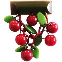 Original Art Deco Bakelite red Cherry Cherries  bar brooch pin
