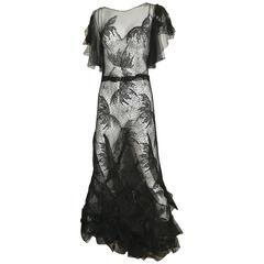 Rare 1930s Black Lace Cobweb Gown with flutter sleeves