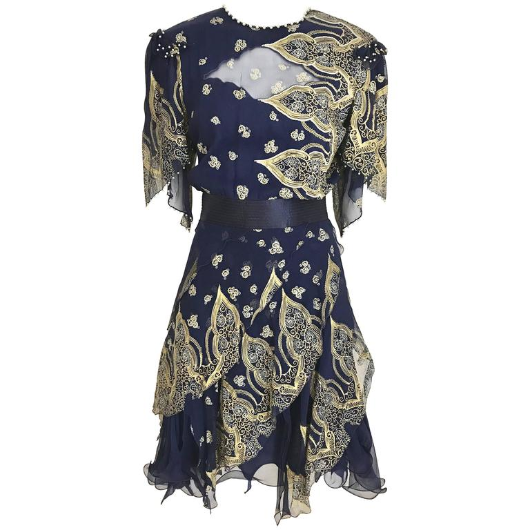 Vintage Zandra Rhodes 1980s Blue and gold hand print silk cocktail dress