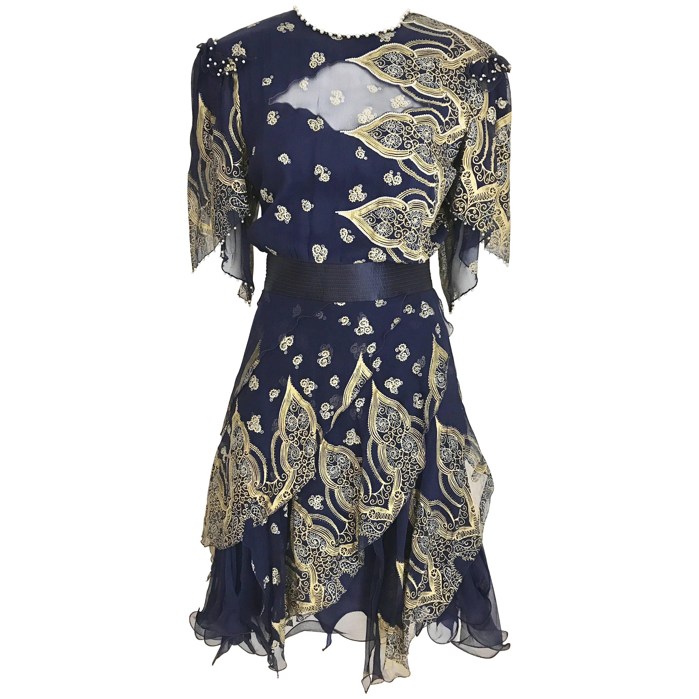 Vintage Zandra Rhodes 1980s Blue and gold hand print silk cocktail dress