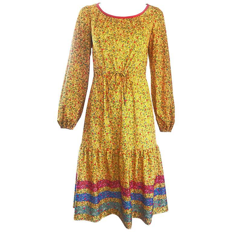 d0437a77f7d 1970s Yellow Vintage Flower Print Striped Long Sleeve 70s Boho Prairie Dress  For Sale