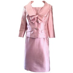 Gorgeous 1960s Demi Couture Pale Pink Silk Shantung Dress and Jacket Ensemble