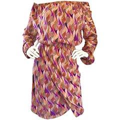 New Nina Ricci Silk Off Shoulder Colorful Mosaic Print Long Sleeve Boho Dress