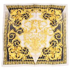 Versace Silk Scarf Baroque Print - black/white/gold