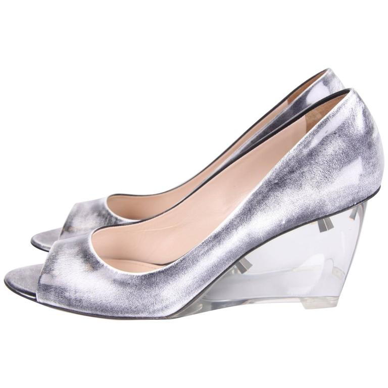 Prada Patent Leather Wedge Shoes - black & white