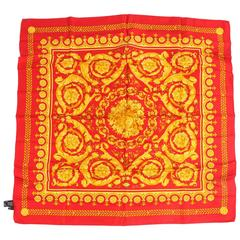 Versace Silk Scarf Baroque Print - red/gold
