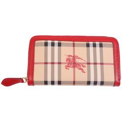 Burberry Zip Around Wallet - beige/black/red/white