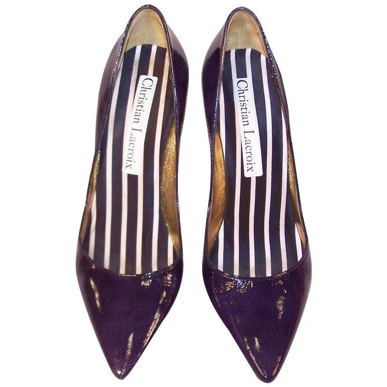 0deaf0169f3d8 Classic Christian Lacroix Blue Patent Leather Stiletto Pumps Sz 38 For Sale