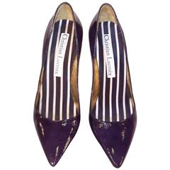 Classic Christian Lacroix Blue Patent Leather Stiletto Pumps Sz 38