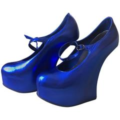 Natacha Marro London Neon Blue Metallic Leather Heelless Platform Mary Jane Pump
