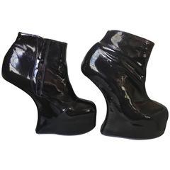 Natacha Marro London Black Patent Leather Fetish Heelless Platform Booties