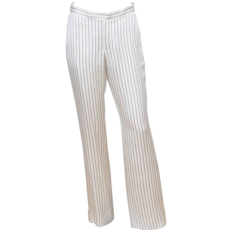 C.1990 Ralph Lauren Menswear Style Blue & White Pinstripe Silk Pants