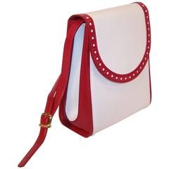 C.1980 Bruno Magli White & Cherry Red Leather Spectator Handbag