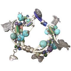 Semi Precious Sterling Silver Western Theme Charm Bracelet  ca 1980s