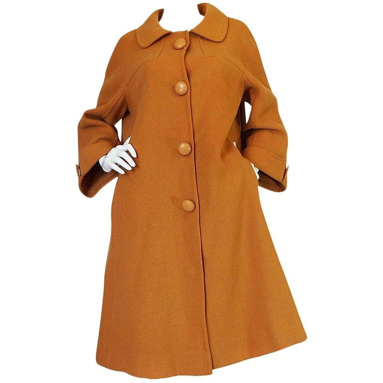 1950s Pierre Balmain Deep Mustard Wool Swing Coat