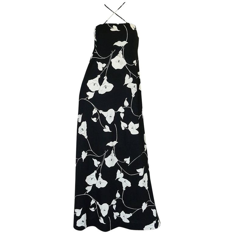 1970s Estevez Graphic Black & White Floral Lilly Jersey Dress