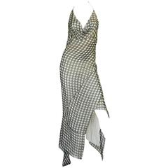 Early 2000s Galliano for Dior Check Silk Chiffon Bias Cut Dress