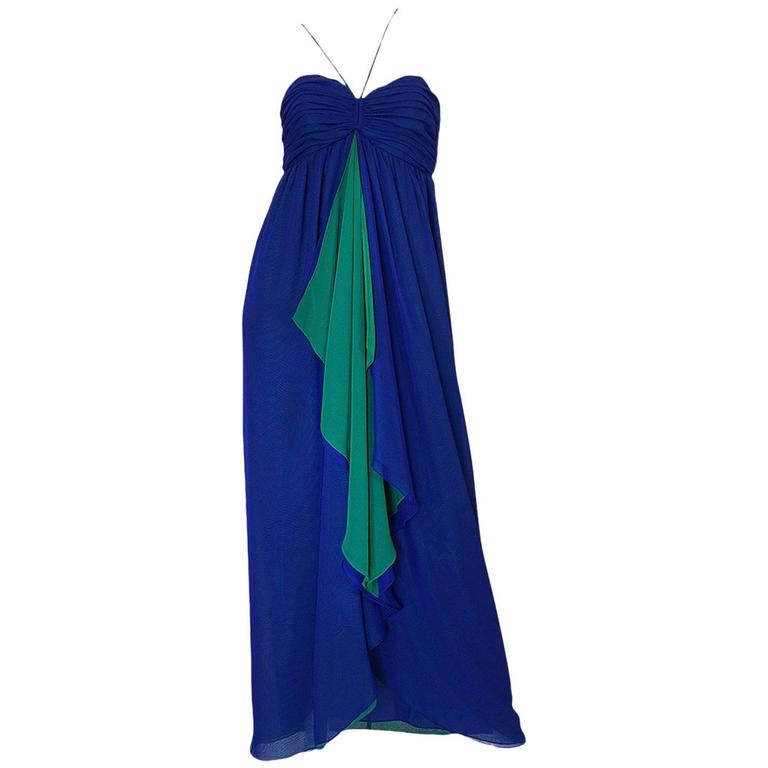 1970s Adele Simpson Blue Chiffon Dress w Green Ruffle