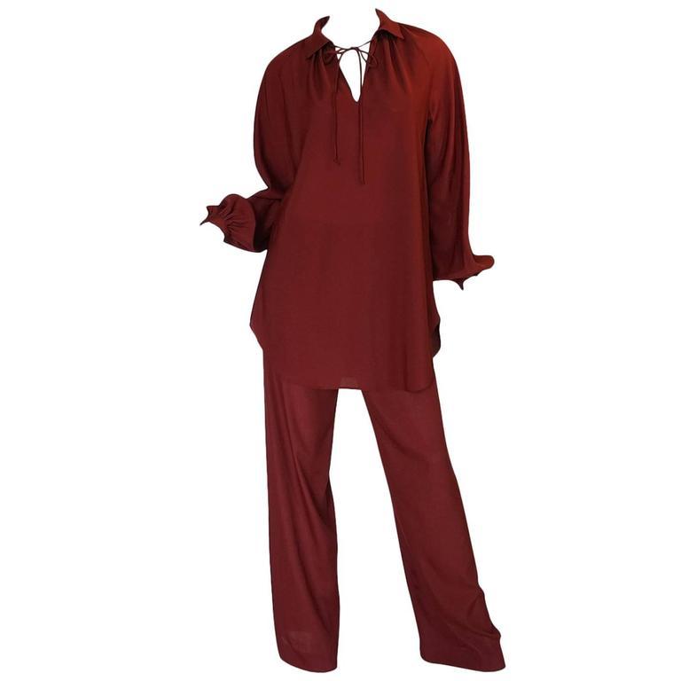 1970s Halston Deep Burgundy Tunic & Pant Set
