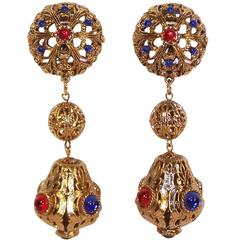 Exotic C.1980 Gem-Craft Filigree Drop Dangle Clip On Earrings With Cabochons