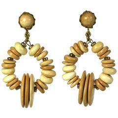 Miriam Haskell Beaded Wood Hoop Earrings
