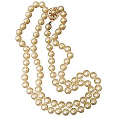 Miriam Haskell Opulent Glass Enamel Long Pearl Necklace ca 1970