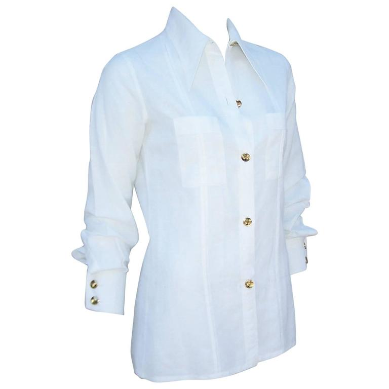 Crisp 1970 39 s gucci white linen shirt with nautical enamel for Crisp white cotton shirt