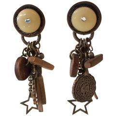Silver Enamel Wood Coins Charms Drop Earrings
