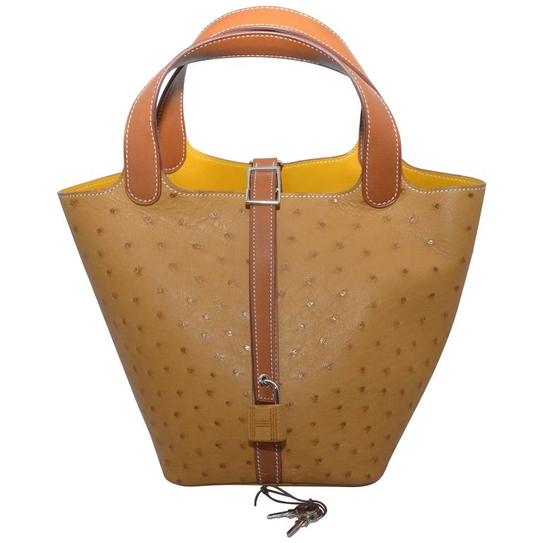 Hermes Gold Ostrich Picotin 18 Jaune Interior For Sale