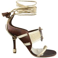 CHRISTIAN DIOR Size 7.5 Brown & Silver Leather Ankle Strap Sandals
