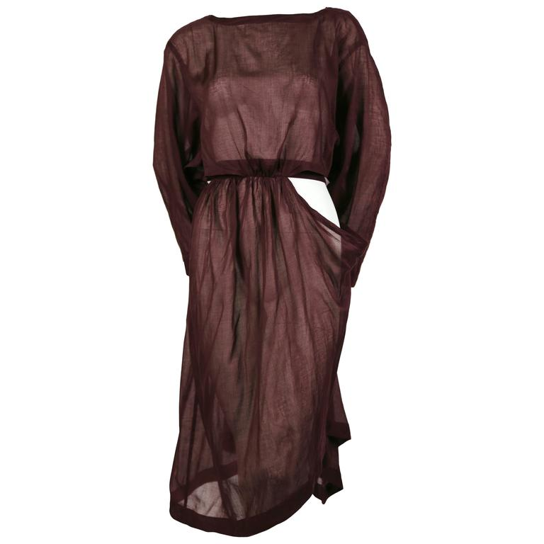 1980's AZZEDINE ALAIA sheer draped dress with cut out For Sale