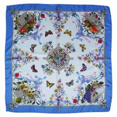 Lovely C.1970 Gucci Silk Flora Scarf By Vittorio Accornero