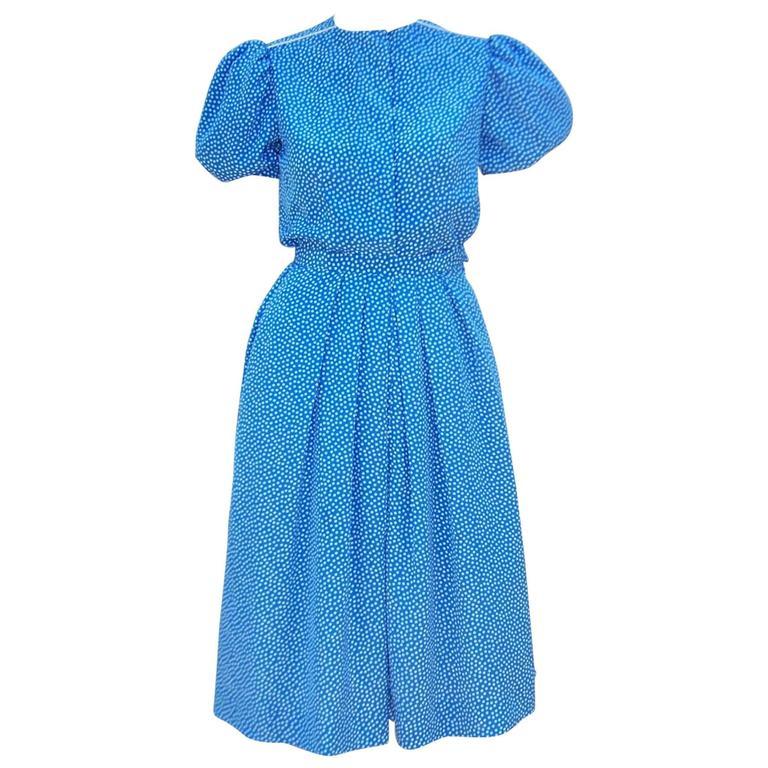 Ladylike C.1980 Albert Nipon Silk Polka Dot Two Piece Dress
