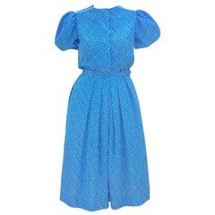 Albert Nipon Silk Polka Dot Two Piece Dress, C.1980
