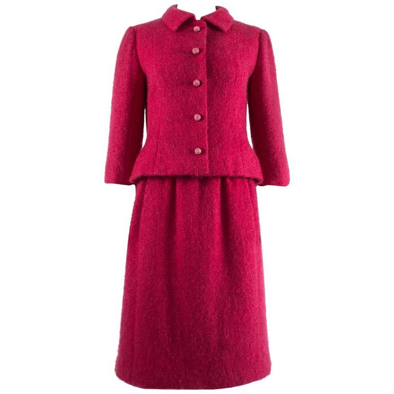 Balenciaga 1961 haute couture cerise wool skirt suit for for Haute couture suits
