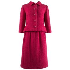 Balenciaga 1961 Haute Couture Cerise wool skirt suit