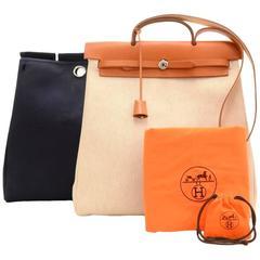 Hermes Herbag MM 2 in 1 Canvas Brown Leather Shoulder Hand Bag