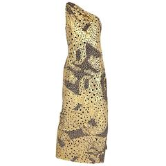 90s Yves Saint Laurent Leopard print metallic silk gown