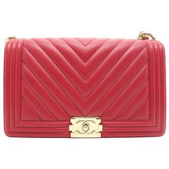 Chanel Chevron Boy Flap Red Calfskin Leather Gold Metal Chain Shoulder Bag