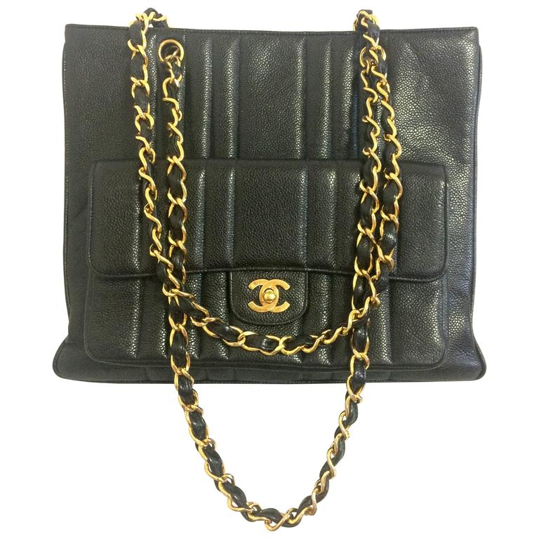 Vintage CHANEL rare 2.55 combo design black caviar leather chain shoulder bag.