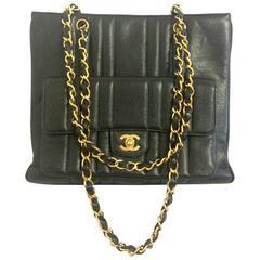 Vintage CHANEL rare 2.55 combo design black caviar leather chain shoulder bag.