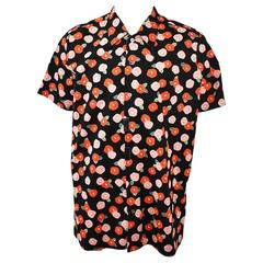 Raf Simons Black Oversize Floral Short-Sleeve Shirt with Metal Popper Details S/