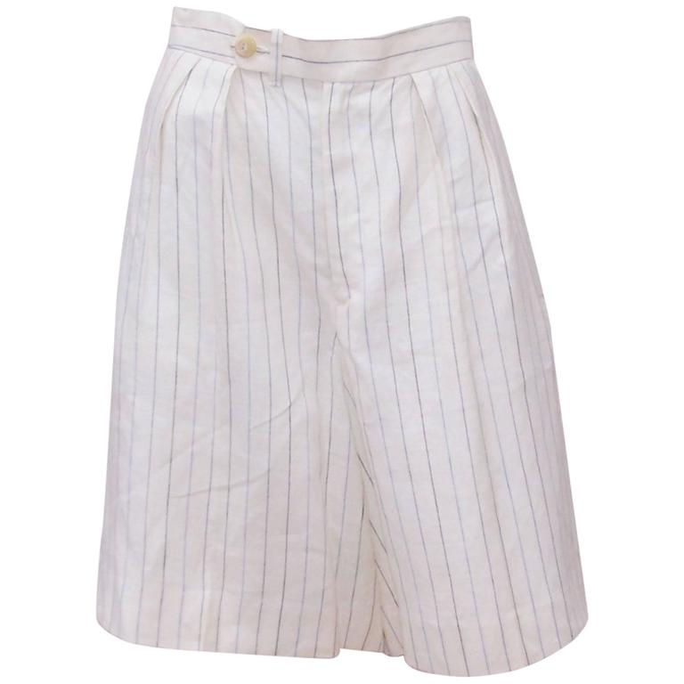 1970's Ralph Lauren Gatsby Style Linen Pinstripe Walking Shorts With Tags