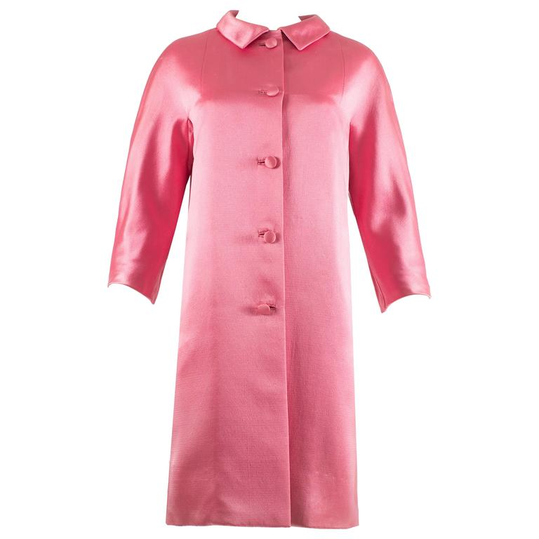 Balenciaga 1963 Haute Couture hot pink silk evening coat 1
